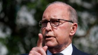 White House chief economic adviser Larry Kudlow speaks with reporters outside the White House, Friday, May 3, 2019, in Washington. (AP Photo/Evan Vucci)