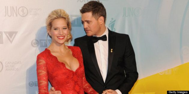 REGINA, SK - APRIL 21: Singer and host of the 2013 Juno Awards Michael Buble and his wife Luisana Lopilato...