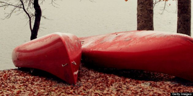 Red canoes parked on fallen autumn leaves by the
