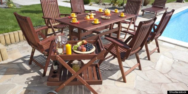 the garden furniture by the...