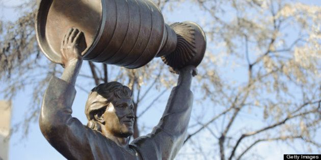EDMONTON, CANADA - FEBRUARY 23: A view of the Wayne Gretzky statue outside of Rexall Place seen before...
