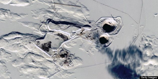 NORTHWEST TERRITORIES, CANADA - FEBRUARY 27, 2013: The Tibbitt to Contwoyto Winter Road, ice road is...