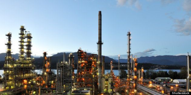oil refinery at night burnaby