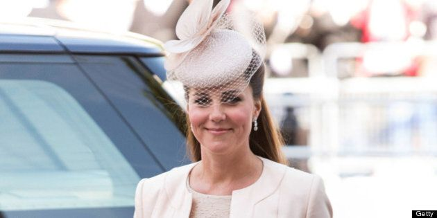 LONDON, ENGLAND - JUNE 04:  Catherine, Duchess of Cambridge attends a service marking the 60th anniversary of the Queen's coronation at Westminster Abbey on June 4, 2013 in London, England.  (Photo by Mark Cuthbert/UK Press via Getty Images)