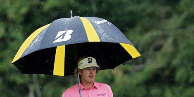 AUGUSTA, GA - APRIL 14: Brandt Snedeker of the United States walks to his ball to hit his second shot...