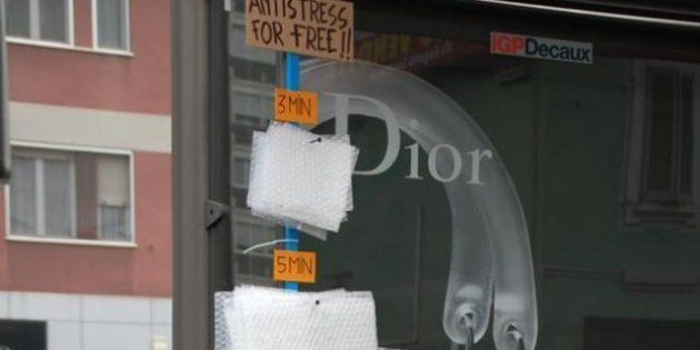 Bubble Wrap Stress Relief: Italian Artist Fra.Biancoshock Creates A Bus Stop Relaxation