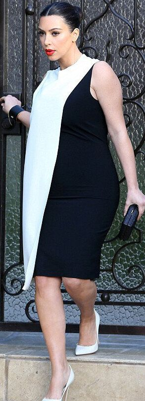 Kim Kardashian Dresses For Kanye West, Dons Frumpy Sheath