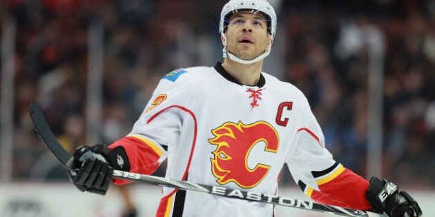 ANAHEIM, CA - MARCH 02: Jarome Iginla #12 of the Calgary Flames looks on against the Anaheim Ducks at...