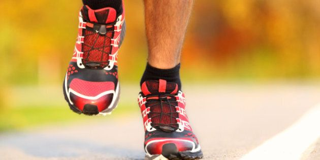 running shoes on