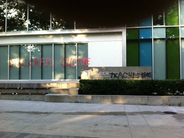 UBC Rape Graffiti Plastered On Walls, Pathways