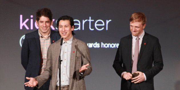 NEW YORK, NY - JUNE 04: (L-R) Kickstarter co-founders Yancey Strickler, Perry Chen, and Charles Adler...