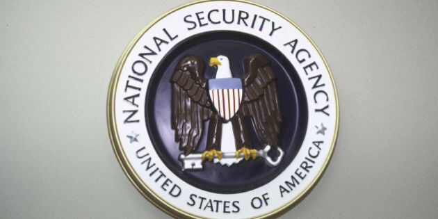 National Security Agency seal hanging on wall. (Photo by Terry Ashe//Time Life Pictures/Getty