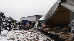 LOOK: Highway Crash Scatters Millions In
