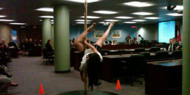 Stripper Gives Pole-Dancing Demonstration At Toronto City Hall Meeting