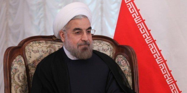 BISHKEK, KYRGYZSTAN - SEPTEMBER 13: Iran's President Hassan Rouhani meets with Russian President Vladimir...