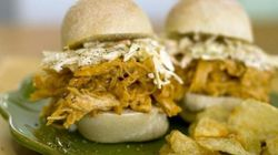 Creamy Mango-Marmalade Pulled Chicken Sliders