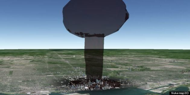 Nukemap3D Shows What Nuclear Bombs Would Do To Canada's Cities
