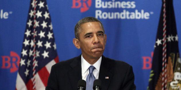 WASHINGTON, DC - SEPTEMBER 18: U.S. President Barack Obama pauses as he addresses members of the Business...