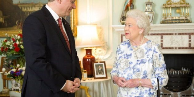 Queen Elizabeth Portrait Unveiled As Prime Minister Stephen Harper And Dignitaries
