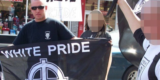 Description Members of the Alberta-based neo-nazi group Aryan Guard stage a counter-protest, at an anti-racism...