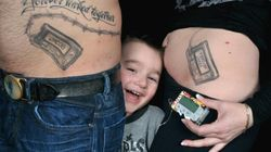 Parents Get Belly Tattoos To Support Son With
