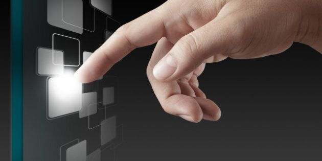 hand working on modern...