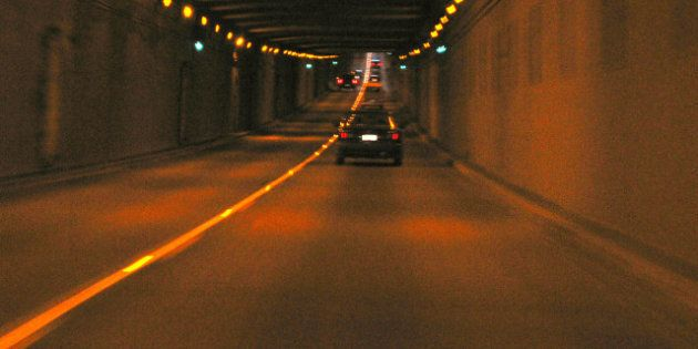 Description 1 A shot of the inside of the George Massey tunnel as I rode in a car through it. Image has...