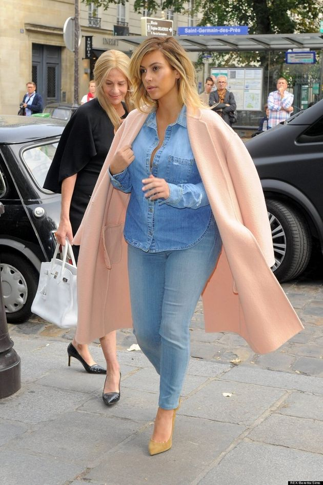 Kim Kardashian Rocks Canadian Tuxedo In Paris