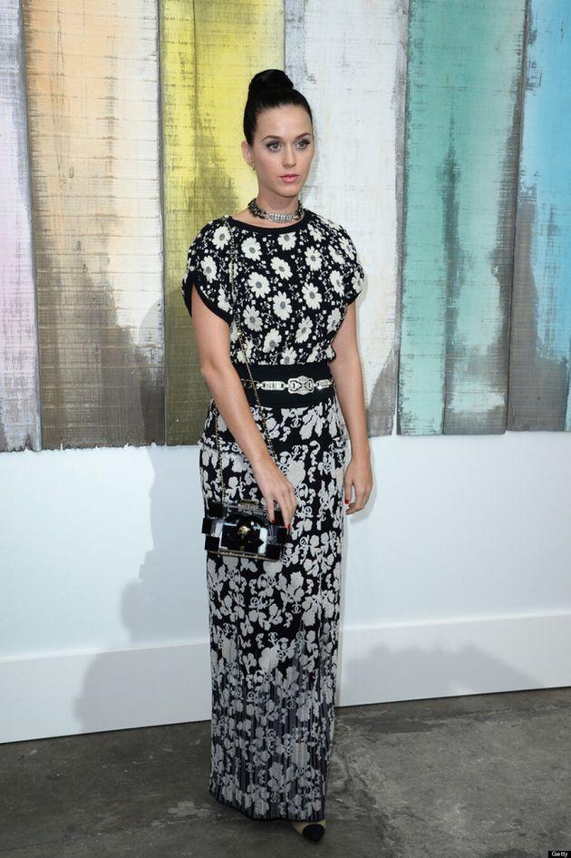 Katy Perry Wears Frumpy Chanel Dress During Paris Fashion Week