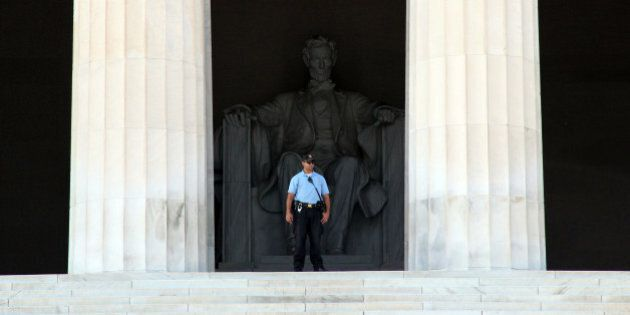 WASHINGTON, D.C. OCTOBER 2 : A US Park Police Officer stands at the enterance of the Lincoln Memorial...