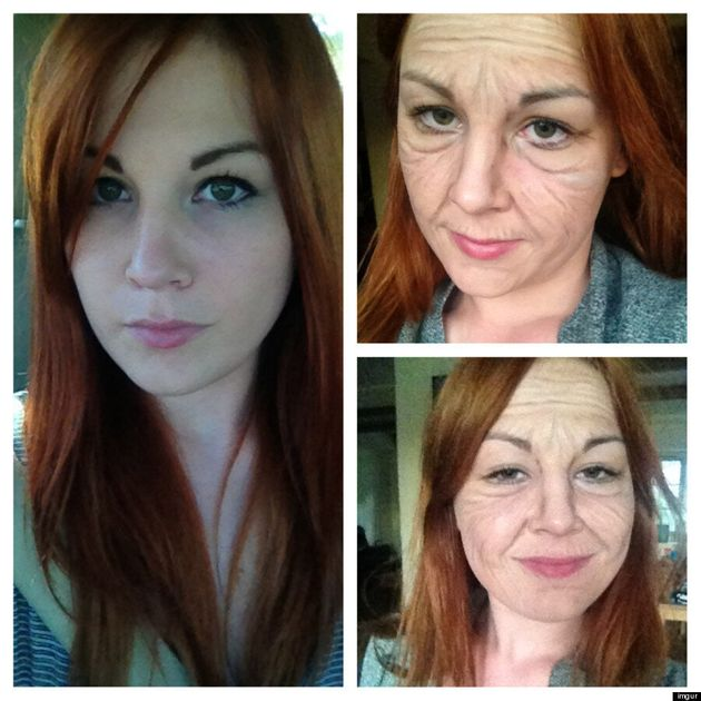 Before And After Makeup: Young Woman Ages Herself To Senior Citizen