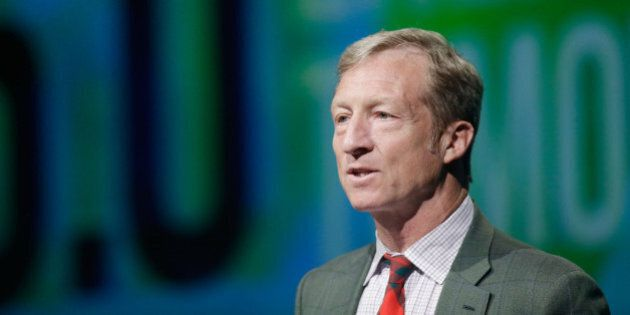 LAS VEGAS, NV - AUGUST 13: Tom Steyer introduces a panel during the National Clean Energy Summit 6.0...