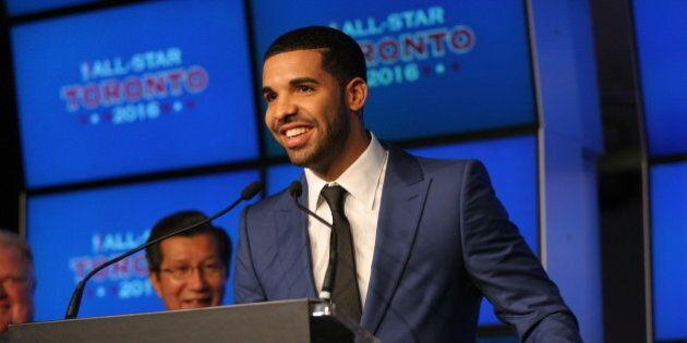 TORONTO, CANADA - SEPTEMBER 30: Rapper Drake addresses the media as it was announced the Toronto Raptors...