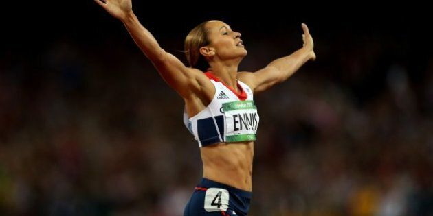 Great Britain's Jessica Ennis celebrates winning the Heptathlon, after the 800m event at the Olympic...