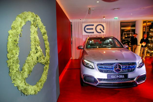 A new Mercedes hydrogen car on display during an event in Berlin on Dec. 10,