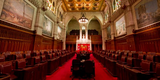 Interior of Canadian Parliament Building of Canadian Senate chambers in Ottawa,