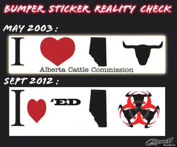 Grooch: Alberta Beef Bumper Sticker A Commentary On E. Coli Scare, Massive