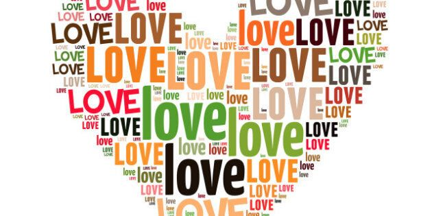love info-text graphics and arrangement concept on white