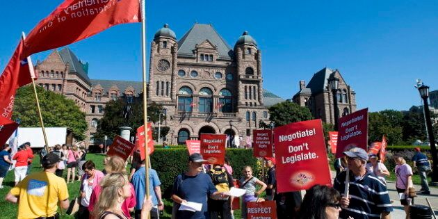 Ontario Teachers Protest At Queen's Park Against Liberal Contract