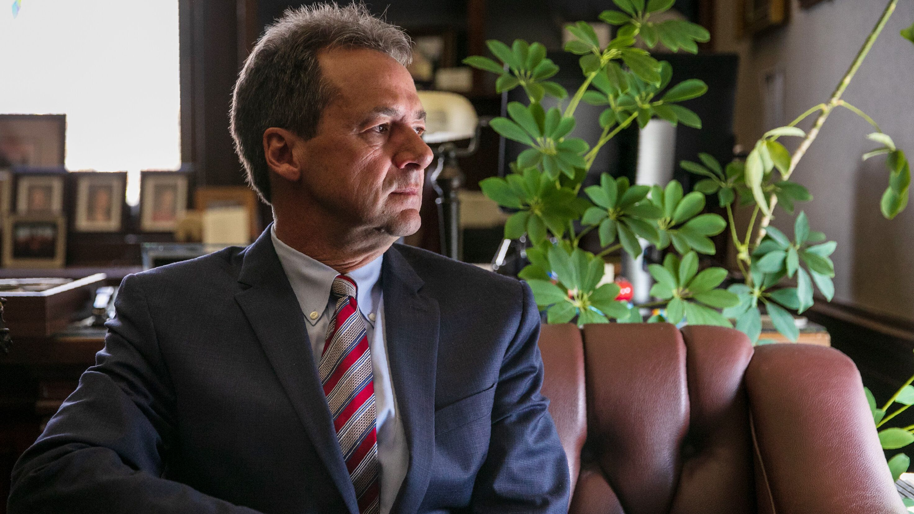 HELENA, MONTANA - May 9, 2019: Montana Gov. Steve Bullock poses for a portrait in his office at the Montana state Capitol. Ilana Panich-Linsman for HuffPost