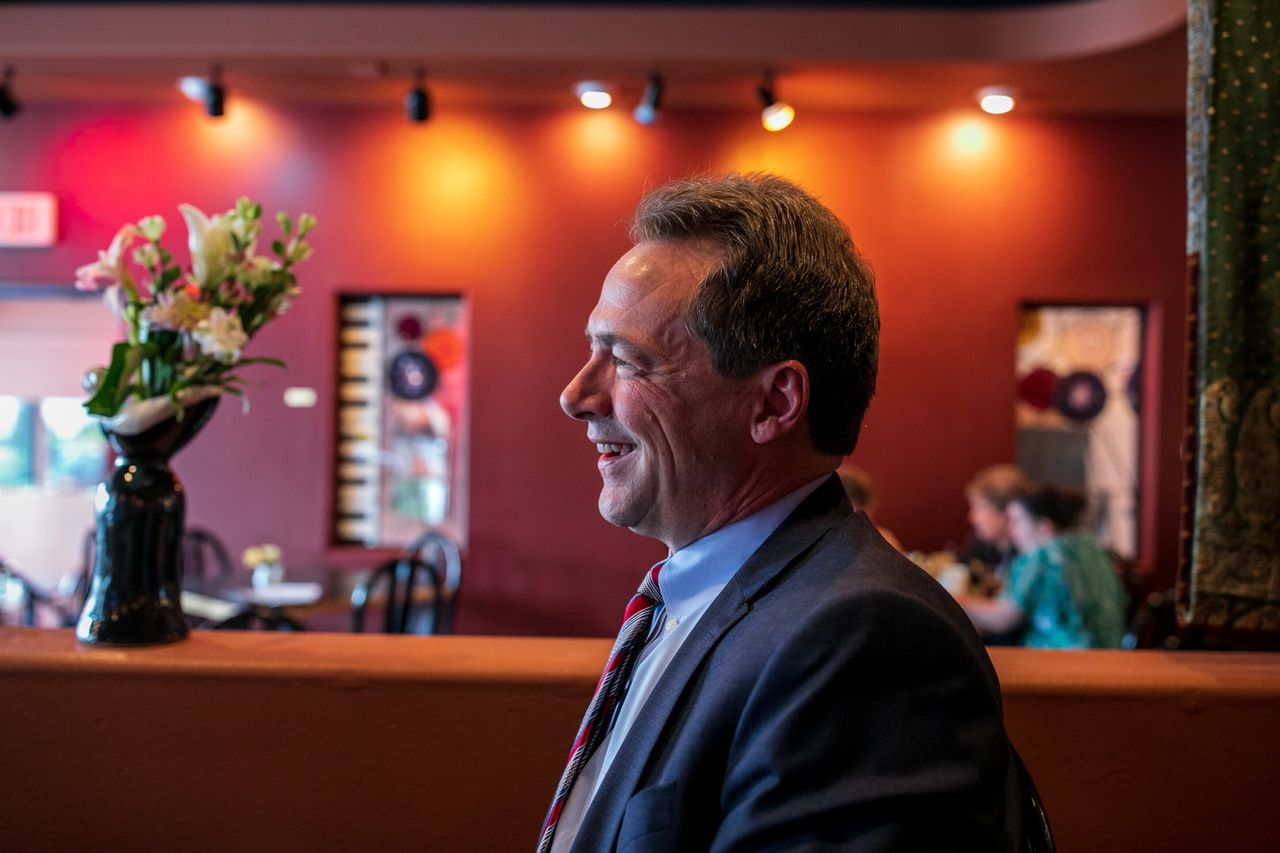 Bullock speaks with HuffPost at Benny's Bistro in downtown Helena.