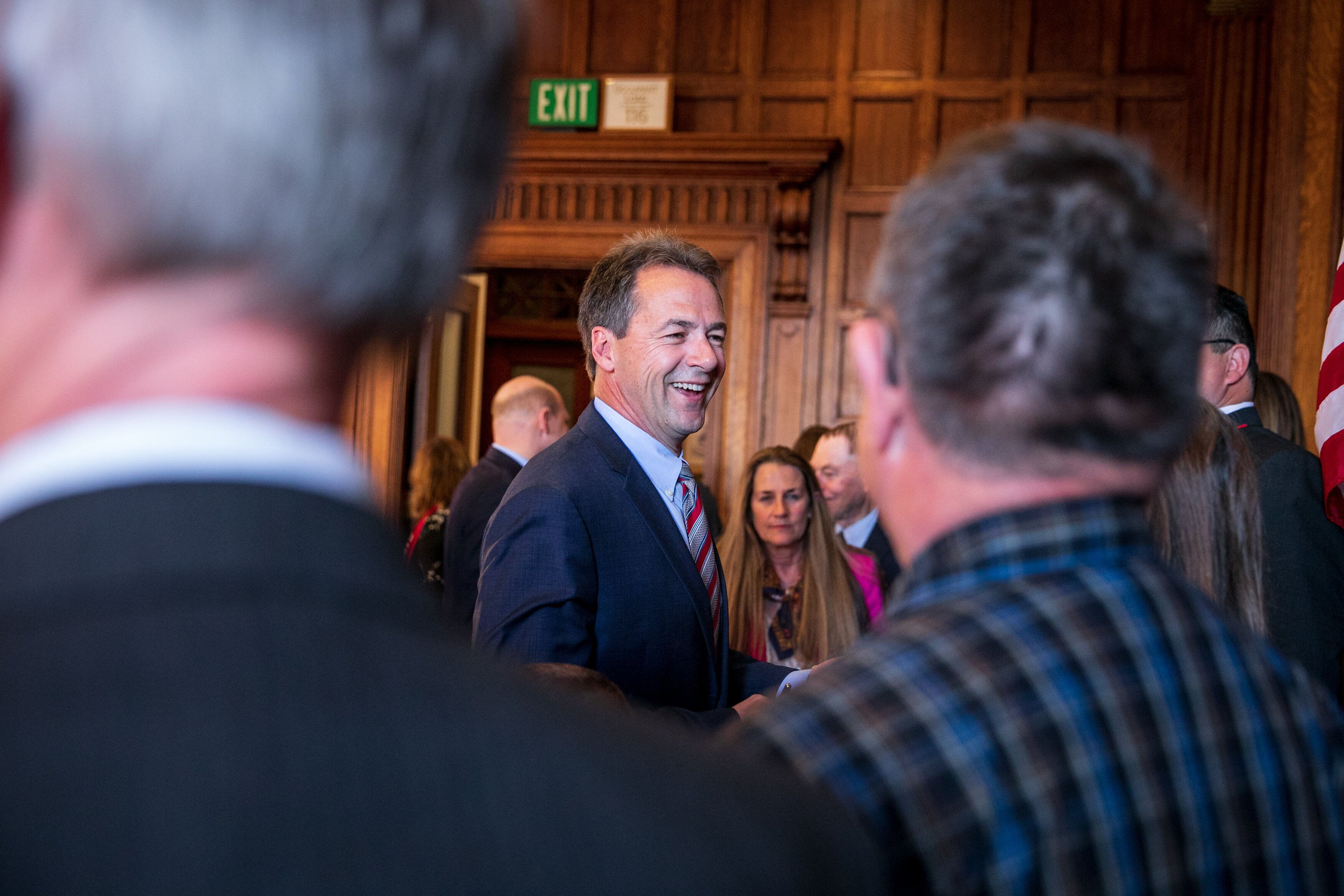 HELENA, MONTANA - May 9, 2019: Gov. Steve Bullock after signing several bills into law, including one for Medicaid expansion in his state. Ilana Panich-Linsman for HuffPost
