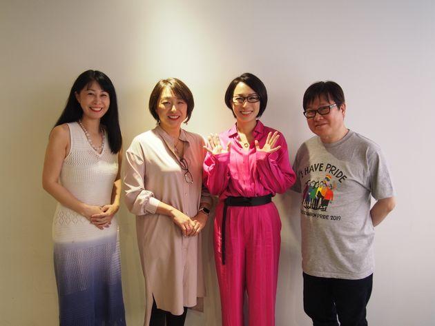 登壇者は声優・マルチクリエイターの三ツ矢雄二さん、タレントの一ノ瀬文香さん、Allies Connect代表の東由紀さん。モデレーターは「一般社団法人Marriage For All Japan –