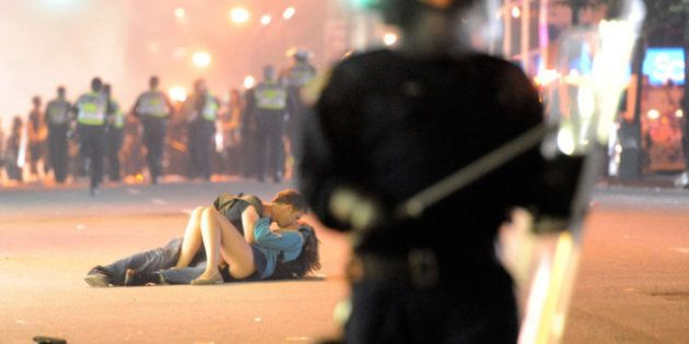 Scott Jones And Alex Thomas: Kissing Couple At Vancouver Riot