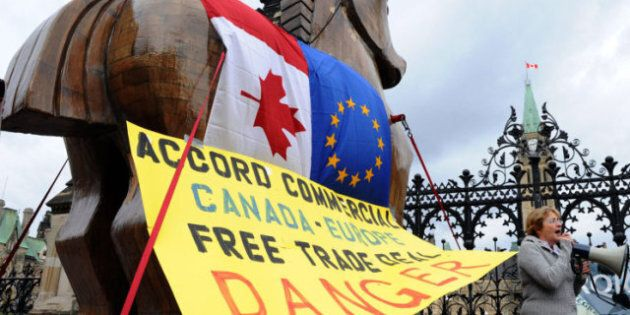 Canada-Europe Trade Deal: Protesters' Trojan Horse Stopped At Parliament Hill