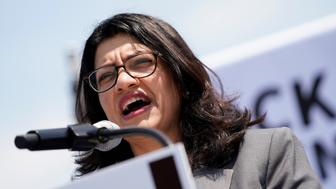U.S. Rep. Rashida Tlaib (D-MI) speaks at a rally calling on Congress to censure President Donald Trump on Capitol Hill in Washington, U.S., April 30, 2019. REUTERS/Aaron P. Bernstein