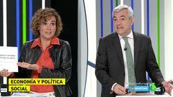 El momento de tensión entre Dolors Montserrat (PP) y Luis Garicano (C's) en el debate de