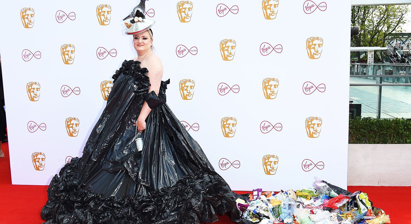 Daisy May Cooper arrives at the BAFTA TV Awards in her bin bag look.  [Photo: Getty]