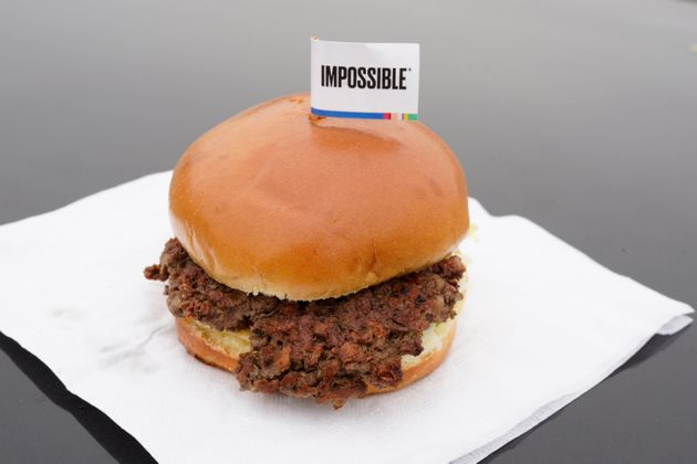 This Jan. 11, 2019, file photo shows the Impossible Burger, a plant-based burger containing wheat protein,...