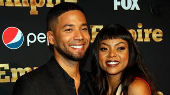 ***FILE PHOTO*** Jussie Smollett arrested for felony disorderly conduct for filing a false police report. NEW YORK, NY - SEPTEMBER 12: Jussie Smollett, Taraji P. Henson at Empire Season 2 Premiere at Carnegie Hall in New York City on September 12, 2015. Credit: RW/MediaPunch /IPX